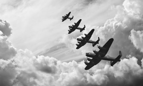 Black and white retro image of Lancaster bombers from Battle of Britain in World War Two